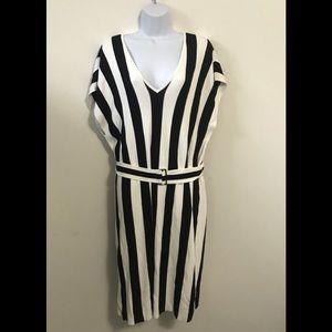 NWT Knitss Black & White Striped Sydney Dress SZ L